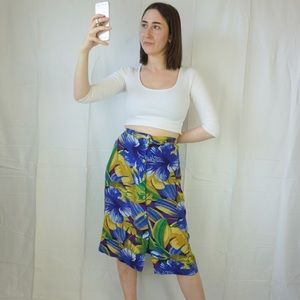 Vintage Blue Floral Hawaiian Midi Skirt